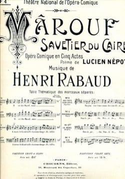 Henri Rabaud - A Travers le Désert. Marouf, Savetier Du Caire. Baryton - Partition - di-arezzo.fr