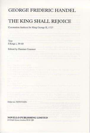 The King Shall Rejoice - HAENDEL - Partition - laflutedepan.com