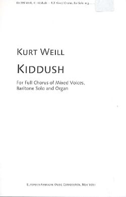 Kurt Weill - Kiddush - Partition - di-arezzo.fr