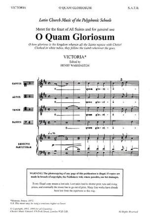 O Quam Gloriosum Tomas Luis de Victoria Partition Chœur - laflutedepan