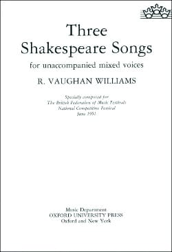 Williams Ralph Vaughan - 3 Shakespeare Songs - Partition - di-arezzo.fr