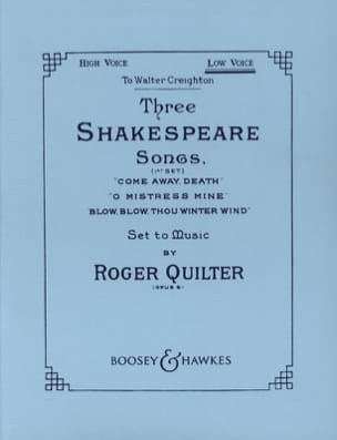 Roger Quilter - 3 Shakespeare Songs. Opus 6. Voix Grave - Partition - di-arezzo.fr