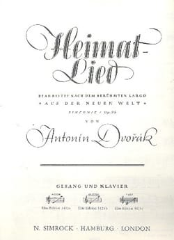 Anton Dvorak - Heimat-Lied op. 95. Voix Moyenne - Partition - di-arezzo.fr