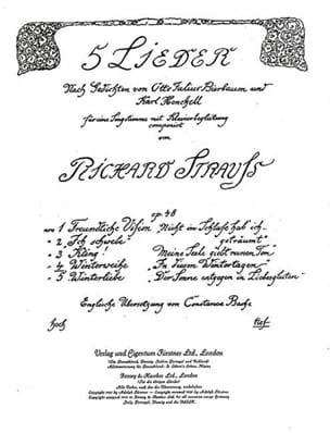 Richard Strauss - Winterweihe Op. 48-4. Voix Grave - Partition - di-arezzo.fr