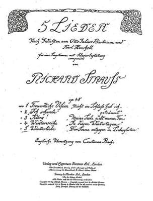 Winterliebe Op. 48-5. Voix Haute - Richard Strauss - laflutedepan.com