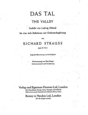 Richard Strauss - Das Tal Op. 51-1. Voix Grave - Partition - di-arezzo.fr