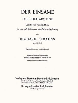 Richard Strauss - Der Einsame Op. 51-2. Voix Grave - Partition - di-arezzo.fr