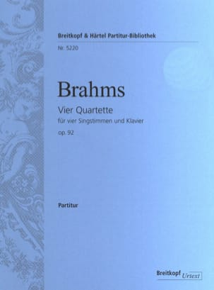 BRAHMS - 4 Quartet Opus 92 - Sheet Music - di-arezzo.co.uk