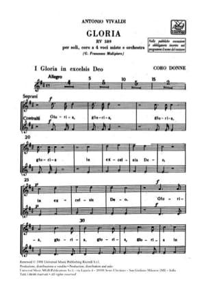 Antonio Vivaldi - Gloria RV 589 (Set de Choeur) - Partition - di-arezzo.fr