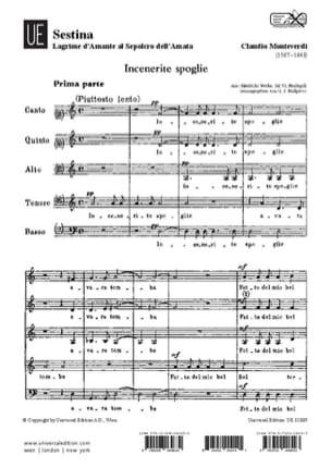 Claudio Monteverdi - Sestina. Lagrime D'amante Al Sepolcro Dell'amata. - Partition - di-arezzo.fr