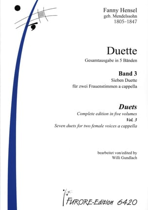 Fanny Hensel - Duette Volume 3 - Partition - di-arezzo.fr
