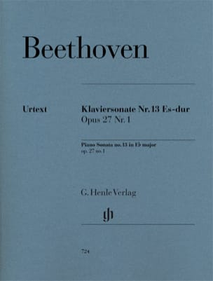 BEETHOVEN - Sonata For Piano No. 13 In E Flat Major Opus 27 No. 1 - Sheet Music - di-arezzo.co.uk