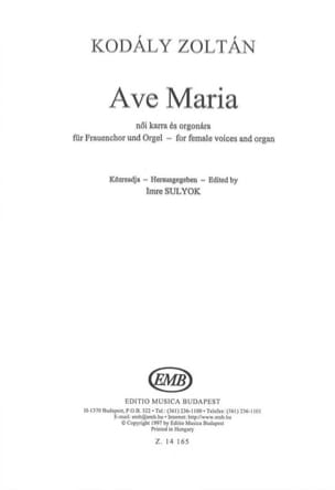 Zoltan Kodaly - Ave Maria - Partitura - di-arezzo.it