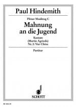 Paul Hindemith - Mahnung An Die Jungen - Partition - di-arezzo.fr