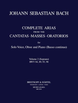Complete Araias From The Cantatas-Masses-Oratorios Volume 2 Soprano - laflutedepan.com