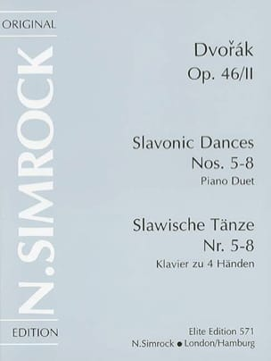 Anton Dvorak - Danses Slaves Opus 46 Volume 2. 4 Mains - Partition - di-arezzo.fr