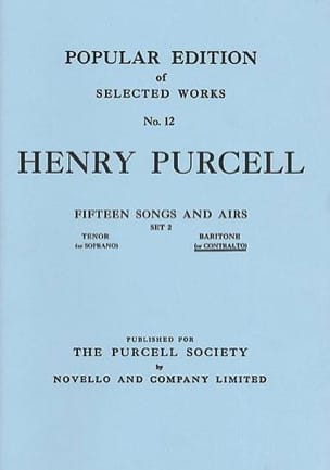 Henry Purcell - 15 Songs And Arias Volume 2 Mean Voice - Sheet Music - di-arezzo.co.uk