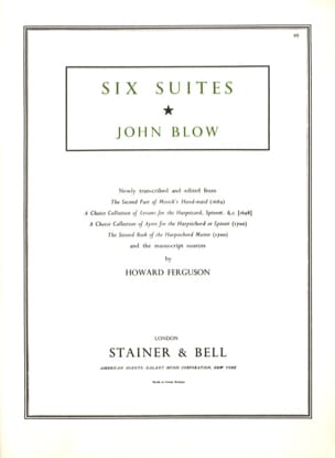 6 suites pour clavecin John Blow Partition Clavecin - laflutedepan