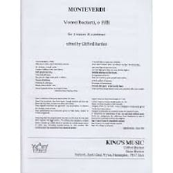Vorrei Baciarti, O Filli Claudio Monteverdi Partition laflutedepan