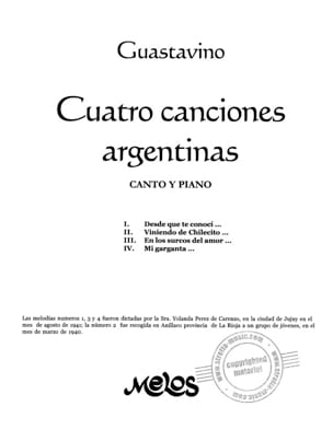Carlos Guastavino - 4 Canciones Argentinas - Sheet Music - di-arezzo.co.uk