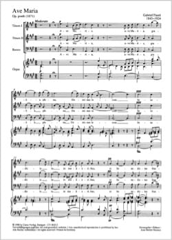Gabriel Fauré - Ave Maria in LA Major - Posthumous Opus - Sheet Music - di-arezzo.co.uk