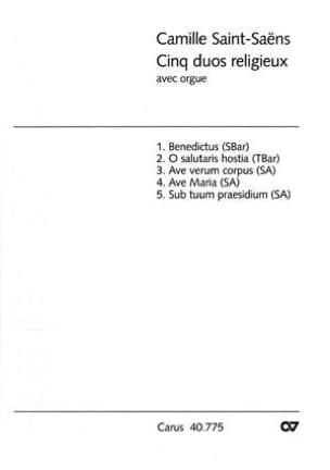 Camille Saint-Saëns - 5 Duos Religieux Avec Orgue - Partition - di-arezzo.fr