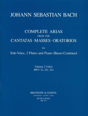 BACH - Complete Arias For Alto, 2 Flûtes et B. C. Volume 2 - Partition - di-arezzo.fr