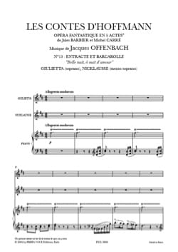 Jacques Offenbach - Beautiful night, oh night of love. the Hoffmann Tales - Sheet Music - di-arezzo.co.uk