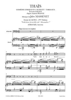 Jules Massenet - Voilà donc la Terrible Cité, Alexandrie ! Thaïs - Partition - di-arezzo.fr