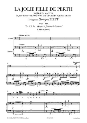 BIZET - Quand la Flamme de L'amour. la Jolie Fille de Perth - Partition - di-arezzo.fr