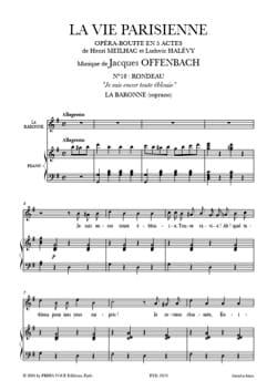 Jacques Offenbach - Je Suis Encor Tout Eblouie. la Vie Parisienne - Partition - di-arezzo.fr