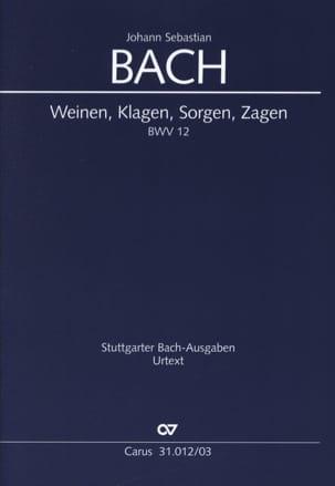 Jean-Sébastien Bach - Cantate 12 Weinen, Klagen, Sorgen, Zagen - Partition - di-arezzo.fr