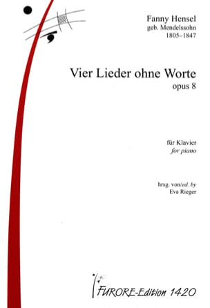 Fanny Hensel - 4 Lieder Ohne Worte Opus 8 - Partition - di-arezzo.fr