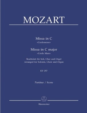 MOZART - Missa in C (Credo-Messe) KV 257. Version Choeur Orgue - Partition - di-arezzo.fr