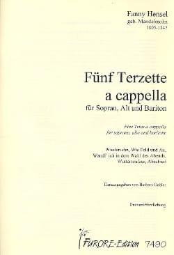 5 Terzette A Cappella Fanny Hensel-Mendelssohn Partition laflutedepan