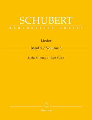 Lieder Volume 5. Voix Haute SCHUBERT Partition Mélodies - laflutedepan