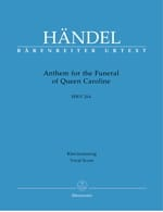 HAENDEL - Anthem For The Funeral Of Queen Caroline. HWV 264 - Sheet Music - di-arezzo.co.uk