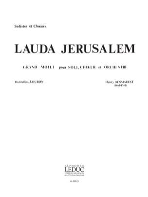 Lauda Jerusalem. Choeur Henri Desmarets Partition Chœur - laflutedepan