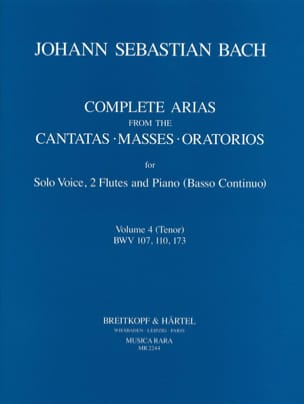 Arias For Tenor, 2 Flutes And Continuo. Volume 4 - laflutedepan.com