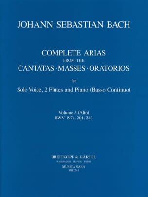 Arias For Alto, 2 Flutes And Continuo - BACH - laflutedepan.com