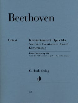 BEETHOVEN - Piano Concerto Opus 61a From the Violin Concerto Opus 61 - Partition - di-arezzo.co.uk