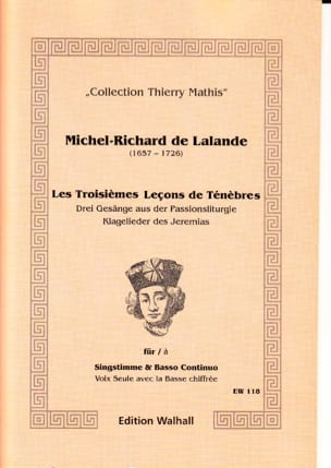 Michel-Richard de Lalande - The 3 Lessons of Darkness - Sheet Music - di-arezzo.com