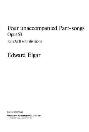 ELGAR - 4 Unaccompanied Part Songs Op. 53 - Partition - di-arezzo.fr