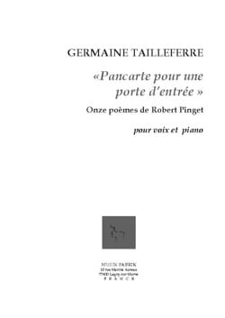 Germaine Tailleferre - Registrati per una porta d'ingresso Opus 153 - Partitura - di-arezzo.it