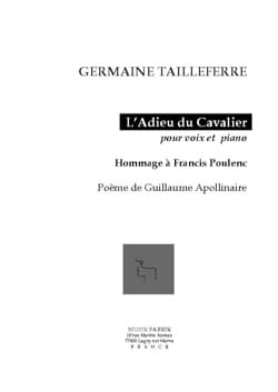 Germaine Tailleferre - The Farewell of the Cavalier Opus 154 - Sheet Music - di-arezzo.co.uk
