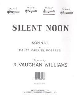 Williams Ralph Vaughan - Silent Noon In F - Partition - di-arezzo.fr