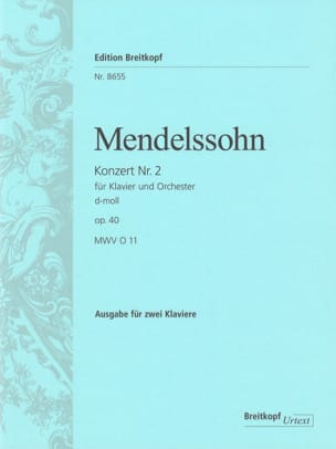 MENDELSSOHN - Piano Concerto No. 2 Op. 40 In D Minor Mwv O 11 - Sheet Music - di-arezzo.com