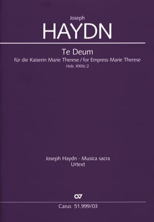 HAYDN - Te Deum For Kaiserin Marie Therese Hob 23c-2 - Sheet Music - di-arezzo.co.uk