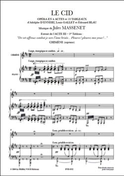 Jules Massenet - Cry, Cry, my Eyes. The Cid - Sheet Music - di-arezzo.co.uk