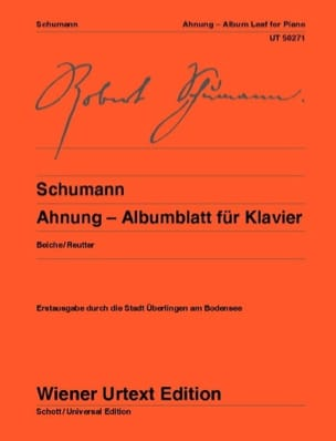 Ahnung - Albumblatt Für Klavier - Robert Schumann - laflutedepan.com